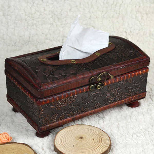 Wholesale- Retro Wooden Rectangular Paper Cover Case Tissue Box Napkin Holder Home Decor