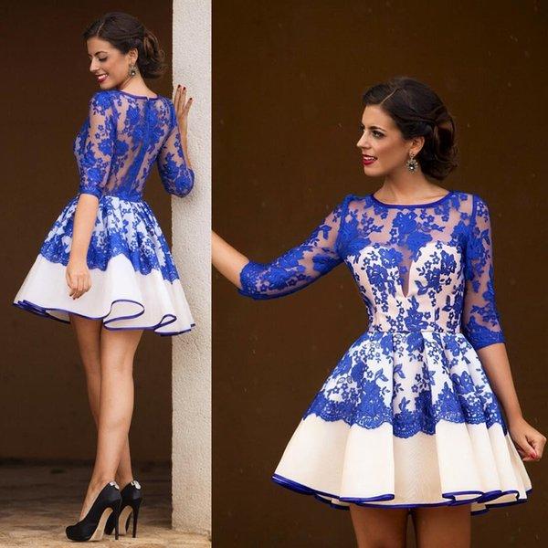 Bleu royal manches courtes robes de soirée courtes de style arabe, une ligne pure col rond fermeture éclair de bal soirée cocktail robes de soirée BA0606