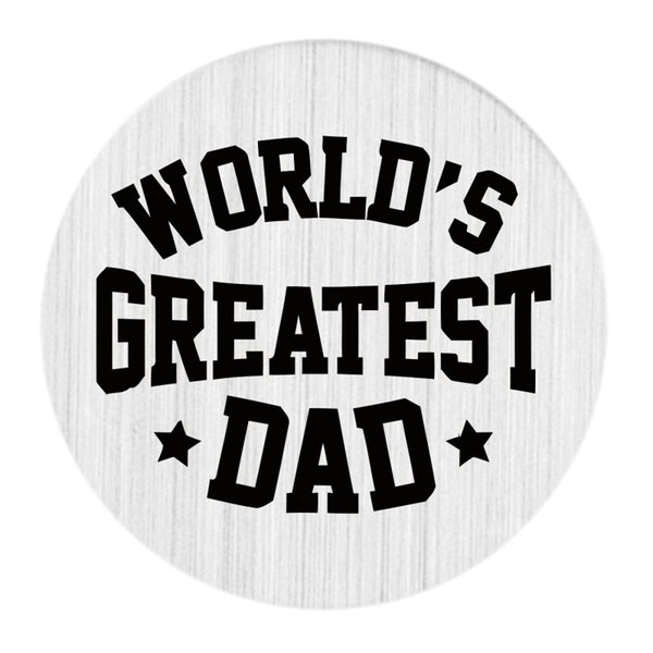 22mm Brushed Stainless Steel Large Floating Living Memory Charm Locket Necklace Message Quote Plate Jewelry - WORLD'D GREATEST DAD