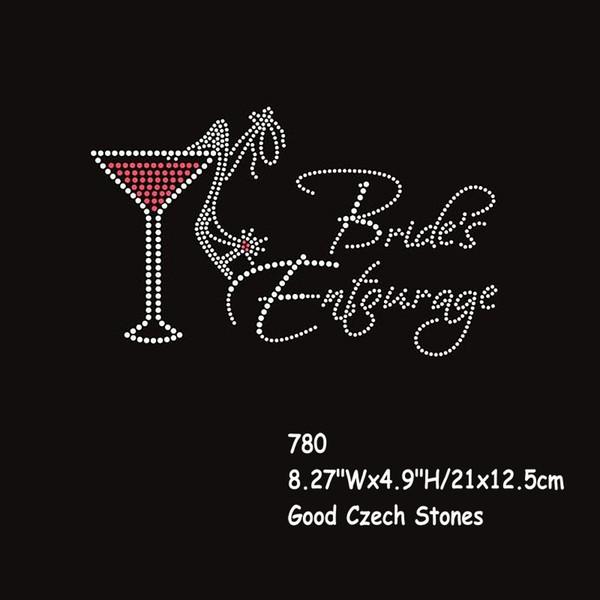 8.27 Inches Hotfix Rhinestone Iron On Transfer Bride's Entourage(With Drink) Motif 20pcs/lot