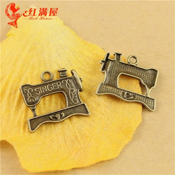20*17MM Antique Bronze singer sewing machine charms for bracelet, vintage metal pendants for necklace, diy tibetan jewelry making findings