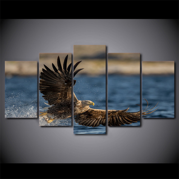 5 Pcs/Set Framed HD Printed Sea Eagle Painting on canvas room decoration print poster picture canvas Free shipping/ny-1667