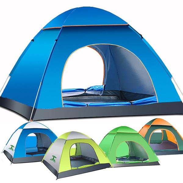 Wholesale- 1pcs 3-4 Person Automatic Quick Opening Tent Outdoor Camping Tent 170T fulmargin cloth pole fiberglass Three Season Tourist Tent