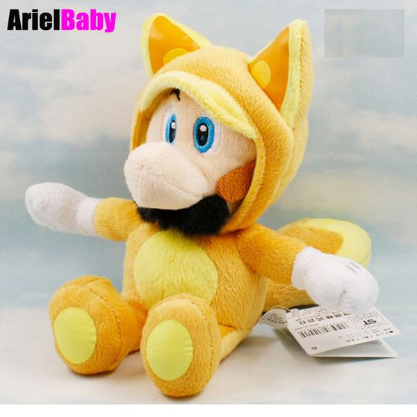 New Super Mario Bros Running Kitsune Fox Luigi Sitting Plush Doll Stuffed Animal Toy 17-25cm Anime Kids Gift Brinquedos Bonecas