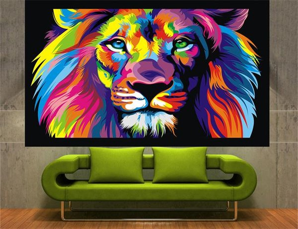 Framed Huge cat pop art australia High Quality Handpainted Wall Decor Abstract Animal Art Oil Painting Canvas Multi Sizes R51