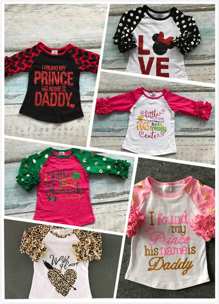 Al por mayor- Las niñas de Pascua amor leopardo tres cuartos boutique de algodón linda camiseta superior raglanes prendas de vestir volantes pequeño príncipe falsa impresión