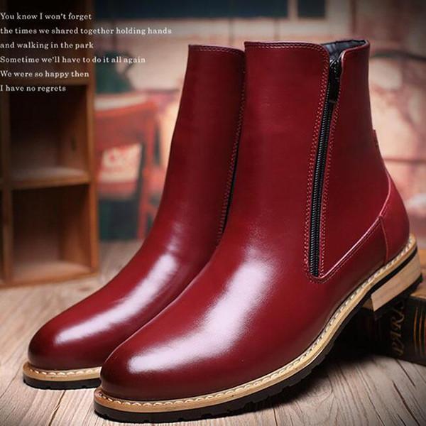 Herren Martin Boot Britische Mode Echtes Leder Wasserdicht