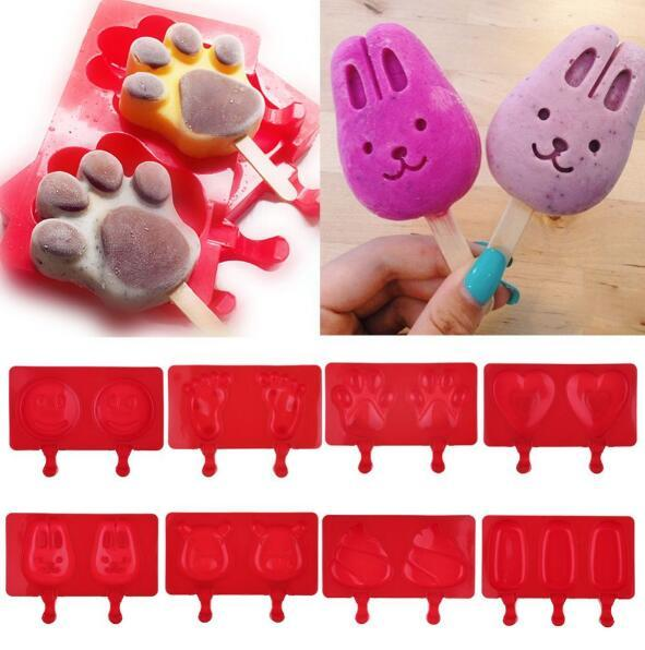 Silicone Cartoon Cute Ice Pop Molds Popsicle Ice Trays Ice Cream Maker Frozen Holder Mould Kitchen Tools Popsicle Molds KKA1881
