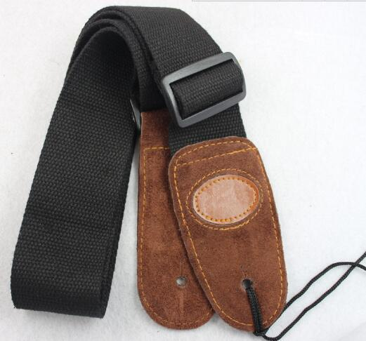 top popular New High Quality Leather Head Guitar Straps Cotton material for Electric Bass Acoustic Guitar Folk Guitar Free Shipping 2019
