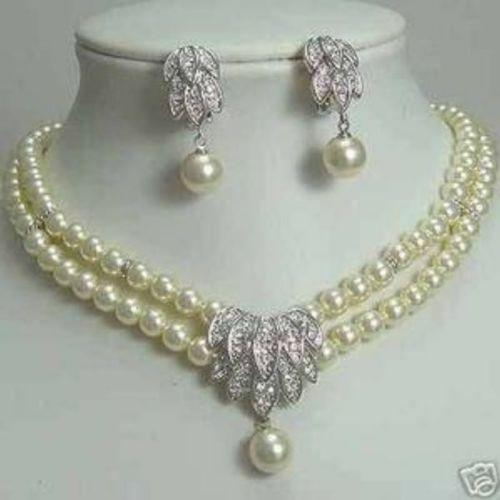 FFREE SHIPPING**7-8mm Comeliness Pearl Bridal Necklace Earring