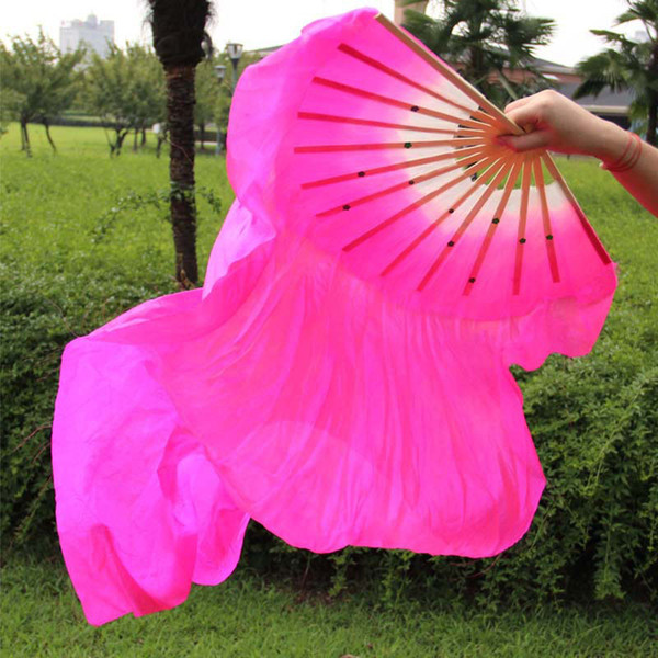 top popular Chinese Traditional Silk-like Fans Veils with 2 sides Gradient Color Stage Show Props Long Fans with Sequins 1.8m ZA1657 2019