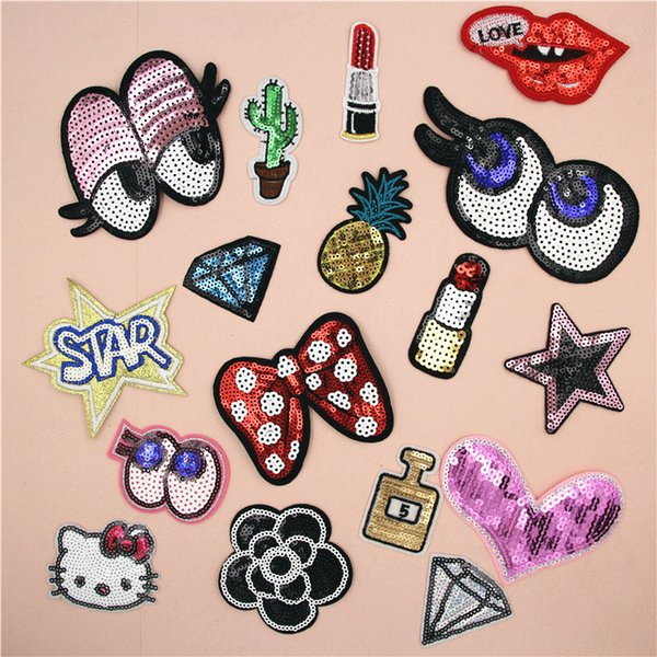 top popular Embroidered Sequins Beaded Lip Diamond Sewing on Small Patch for Clothing Hat Shoes Bag Decorative DIY Applique Accessories 2021