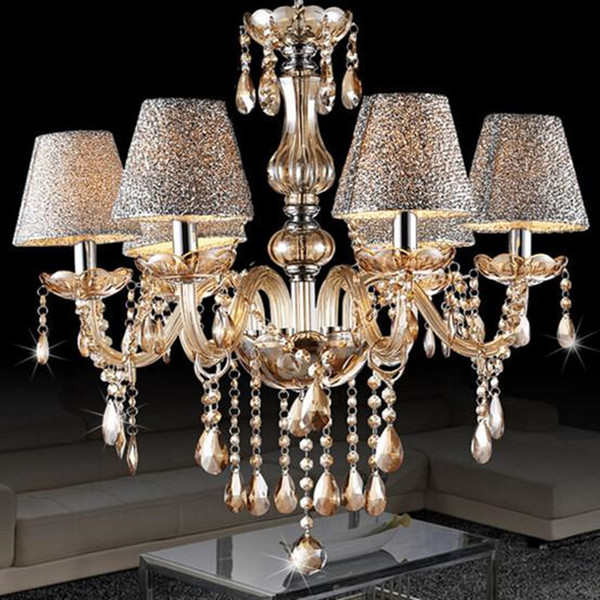 European modern minimalist living room lamp crystal chandelier crystal candle lights dining room bedroom chandelier light with shade 6 heads