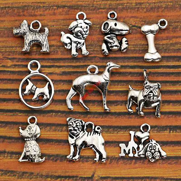 Wholesale- 10pcs Mixed Tibetan Silver Plated Animals Dogs Charms Pendants Jewelry Making DIY Charm Handmade Crafts