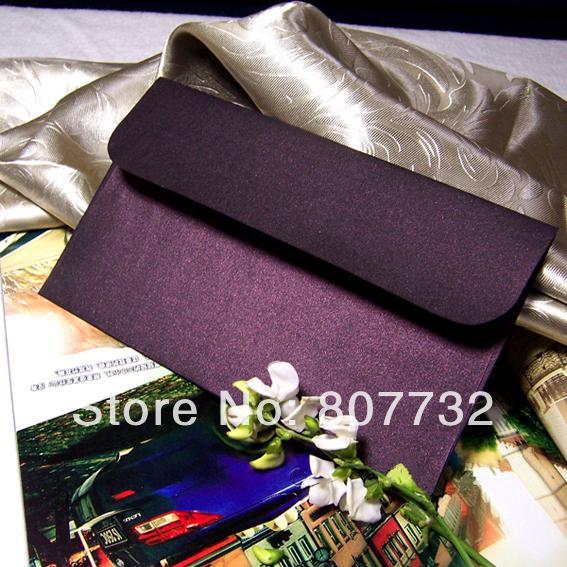Venta al por mayor-ciruela de calidad superior (púrpura oscuro) 120g de lujo Pearly Paper Wedding envelope, sobre del negocio, tamaño personalizado, 300pcs / lot