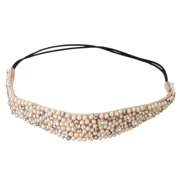 Hot Sale 1 pcs Fashion Hairband Rhinestone Beads and Lace High Quality Elastic Headband Hair Accessories For Women