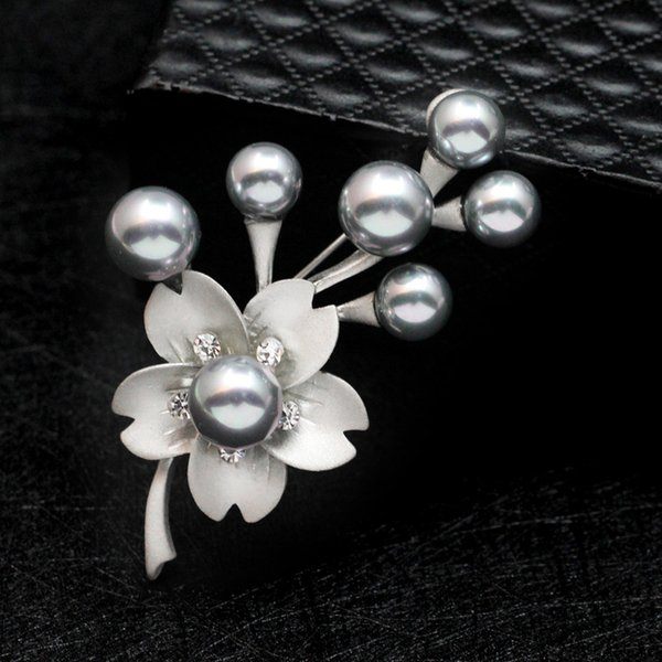crystal Pearl Flower Brooches For Women 2017 Fashion Nature Stone Brooches Pins Vintage Bauhinia Scarves Buckle Pendants 170780