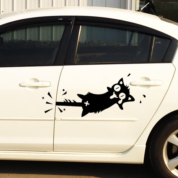 Creative cartoon cat car stickers funny car styling clip the tail cat car whole body auto