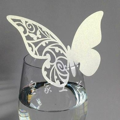 50 Pcs Multi-Usage Butterfly Cut-out Place Escort Wedding Party Wine Glass Paper Cards LY345