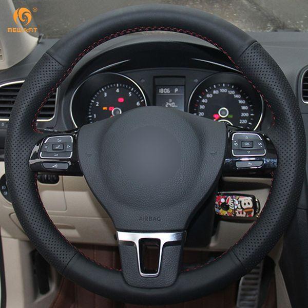 Coprivolante per auto in pelle sintetica nera Mewant per Volkswagen VW Gol Tiguan Passat B7 Passat CC Touran Jetta Mk6