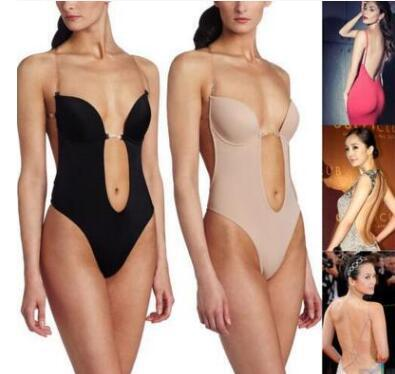 Wholesale- Sexy Backless Deep plunging Evening dress Party Dress Shaper Clear Strap Plunge Thong Body Shapers Women's U Plunge BodySuit