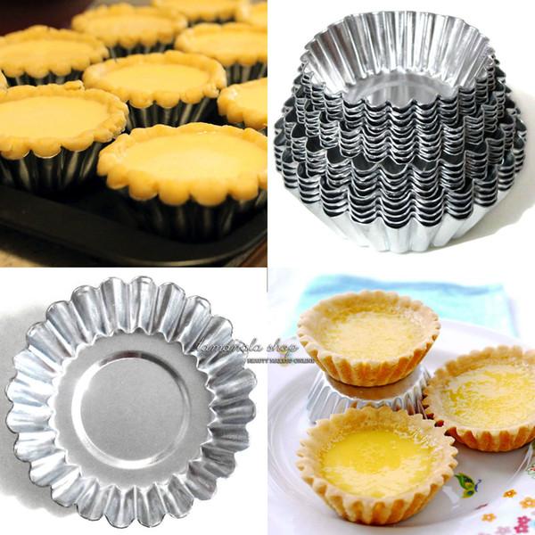 4 Boyutları (5 cm 6 cm 6.5 cm 7 cm) 20 adet Yumurta Tart Alüminyum Cupcake Kek Kurabiye Kalıp Kaplı Kalıp Kalay Pişirme Aracı