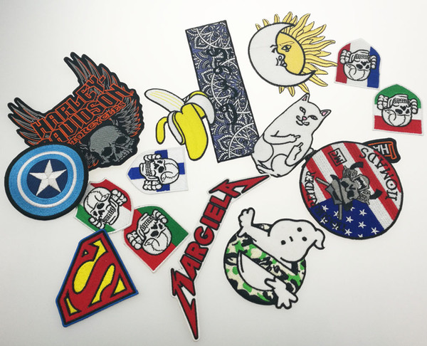 Cool Mix Style Random 16pcs all kinds of Iron On Patches Embroidery Patches For Clothing Jacket Bag Appliques High Quality Free Shipping