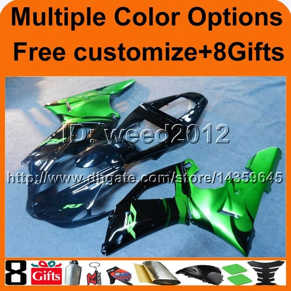 colors+8Gifts green 00 01 YZF R1 2000 2001 ABS motorcycle cowl Fairing for Yamaha