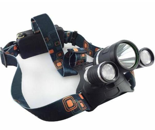 Headlamp Boruit 5000 Lumen Super Bright 3X CREE XML T6 LED Headlamp Headlight 18650 LED Head Light Lamp + Charger +Car Charger