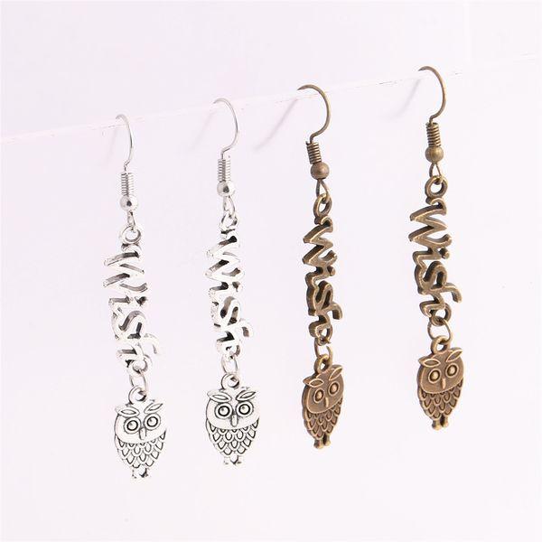 12pcs/lot Metal Alloy Zinc Letter Wish Connector Owl Pendant Charm Drop Earing Diy Jewelry Making C0732