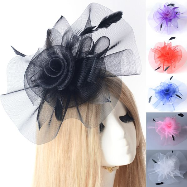 6 Colors for choose Lady Bridal Hair Jewelry Wedding Party Cocktail Prom Netting Feather Fascinator Hat Headwear Hair Clip Hairpieces