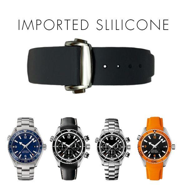 top popular 20mm Watch Strap Bands Men Women Orange Black Waterproof Silicone Rubber Watchbands Bracelet Clasp Buckle For Omega Planet-Ocean +Tools 2020