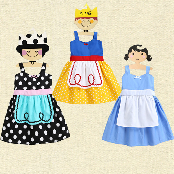 INS 2017 Summer Baby Girls Dresses Snow White Alice One Piece Princess Dress Slip Dress Suspender Skirt Kids Dresses Childrens Day 716