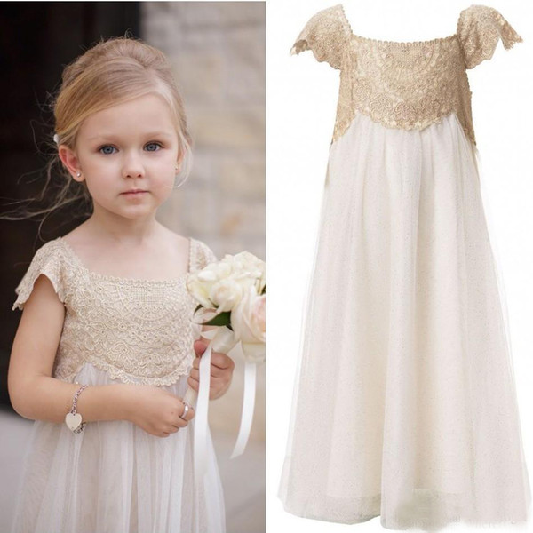 best selling Lovely 2017 Hot Sale Champagne Lace Ivory Tulle Flower Girls Dresses For Weddings Cheap Short Sleeve Birthday Pageant Gowns EN1112