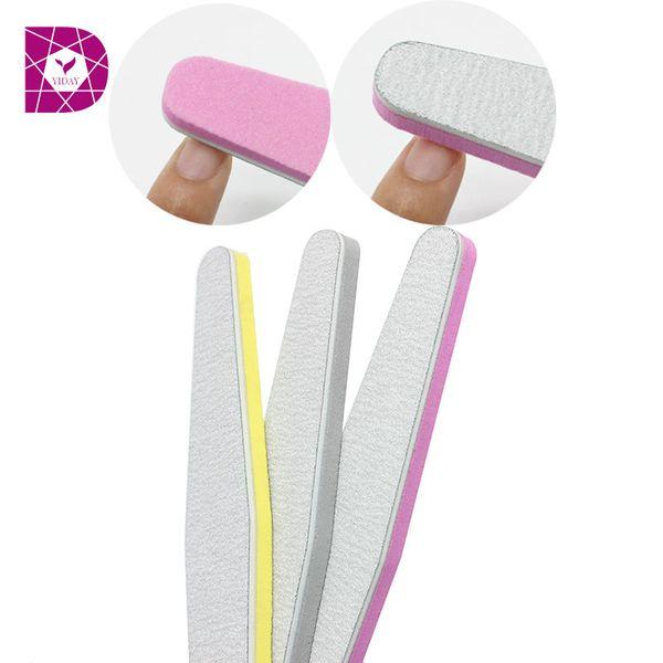 Wholesale- YiDay Double Side Nail Files Magic 2 Way Diamond Sponge 100/180 Nail Buffer Down Polish Block Buffer Prismatic Washable Manicure