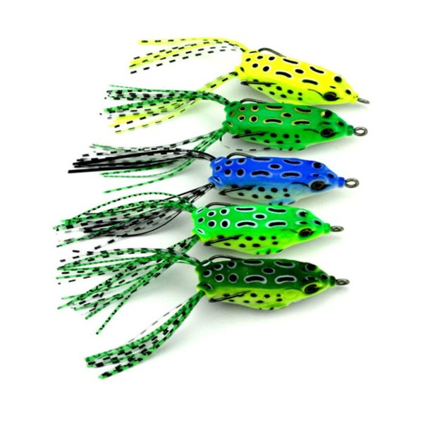5PCS Fishing Jigs Frog Lures 40G Frog Fish Soft Baits Crappie Antique Fishing Lures or Mini Double Hooks Fishing Baits