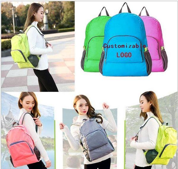 best selling 7 Colors Waterproof Lightweight Foldable Bag Nylon Unisex Travel Backpack Outdoor Sports Camping Hiking Designer Custom Rucksack 150pcs