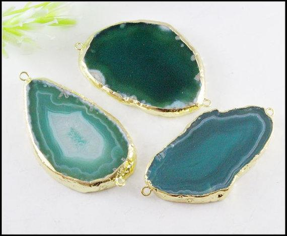 3pcs Nature Druzy Agate Connectors,Drusy Agate Gemstone Pendant ,Gold plated Druzy Crystal Pendant in Green for bracelet Jewelry findings