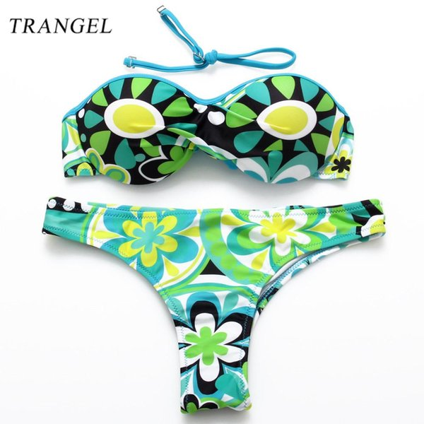 Trangel 2017 NEW One Halter Strap Super Push up Bikini Floral Bikini set Swimsuit Girl Female Sexy Padded Swimwear Bathing Suit