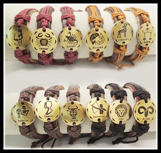 I segni del 12 zodiaco braccialetto di fascino in vera pelle simbolo costellazione bracciali segni zodiacali gioielli per uomo donna 12 pz t2002