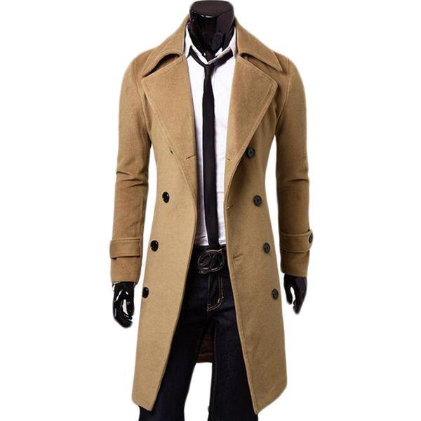 top popular Wholesale- Double Breasted X-Long Jacket Woolen Blends Windbreaker Palto Jaqueta Masculina Men Winter Coat Hombre Mens Jackets and Coats 2021
