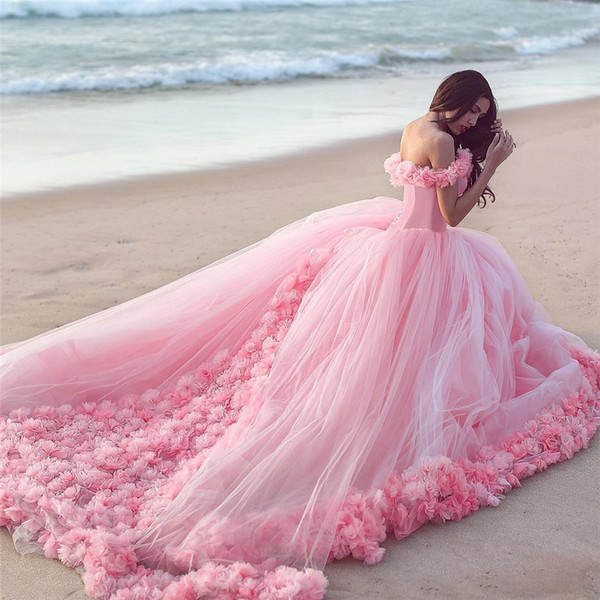 best selling 2019 Hot Sale Pink Cloud 3D Flower Rose Wedding Dresses Long Tulle Puffy Ruffle Robe De Mariage Bridal Gown Said Mhamad Wedding Gown