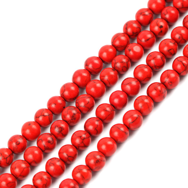 4mm 6mm 8mm 10mm 12mm Pick Size Synthetic stone beads Round Loose Spacer Red Turquoise Stone Beads For DIY Necklace Bracelet