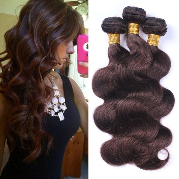 "Dark Brown Body Wave Virgin Hair 3 Bundles 10""-30"" Colored #2 Chocolate Brown Peruvian Human Hair Weaves 3Pcs/Lot Hair Extensions"