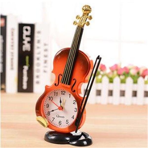 Wholesale-Cartoon Alarm Clock Simulation Violin Art Craft Electronic Desktop Table Clock Creative Living Room Plastic Decoration