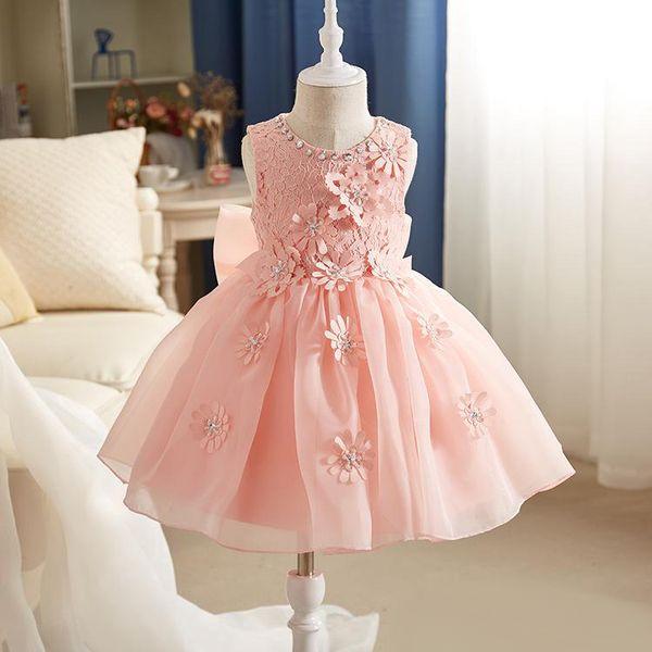 Madchen kleid spitze rosa