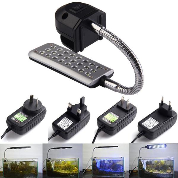 Hight Quality 24 LEDs Aquarium Fishbowl Clip Light Lamp For Coral Reef aquatic animals Free Shpping