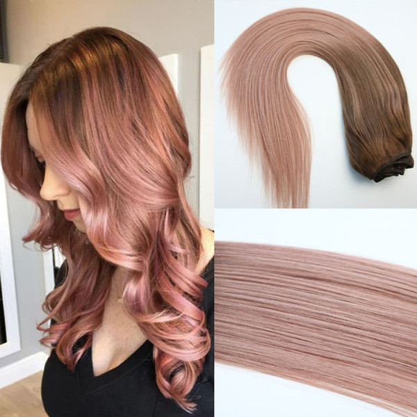 120g Full Head Clip In Human Hair Extensions Ombre Pink Brown Tips 3 Rose Gold Balayage Hair Extensions Highlights Wet And Wavy Hair Weave Wet And