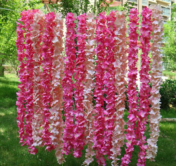 "top popular 80""(2meters) Long Artificial Silk Flower Hydrangea Wisteria Garland For Garden Home Wedding Decoration Supplies 8 Colors Available HW011 2021"
