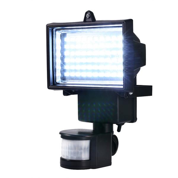 Wholesale- Solar Panel LED Flood Security Garden Light PIR Motion Sensor 60 LEDs Path Wall Lamps Outdoor Emergency Lamp
